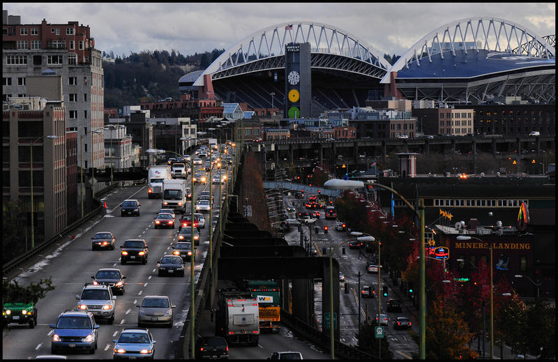 The Alaskan Way Viaduct sends cars streaming past Seattle's waterfront.