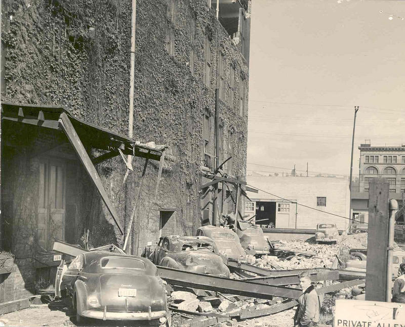 An earthquake in 1949 collapsed ancillary structure to commercial building in Seattle.
