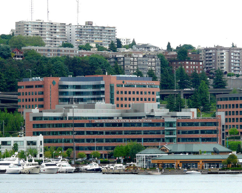 The Fred Hutchison Cancer Research Center as seen from Lake Union.