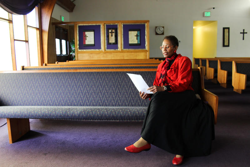 Karen Shiveley, 67, waits to meet the pastor of a Baptist church in Everett. Shiveley has been checking out several churches around the Seattle area, hoping to find the right fit.