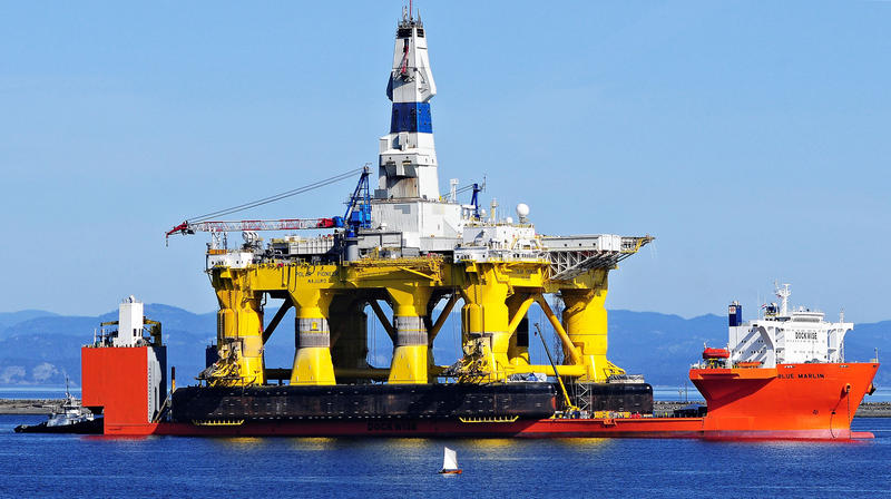The Shell Oil drilling rig Polar Pioneer sits on a transport vessel in Port Angeles, Wash., this spring.