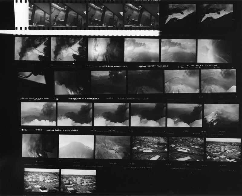 The contact sheet for Reid Blackburn's photographs of Mount St. Helens before the eruption. Blackburn had returned to Vancouver with the rolls of photos, which weren't developed until last year. He died in the eruption in May 1980.