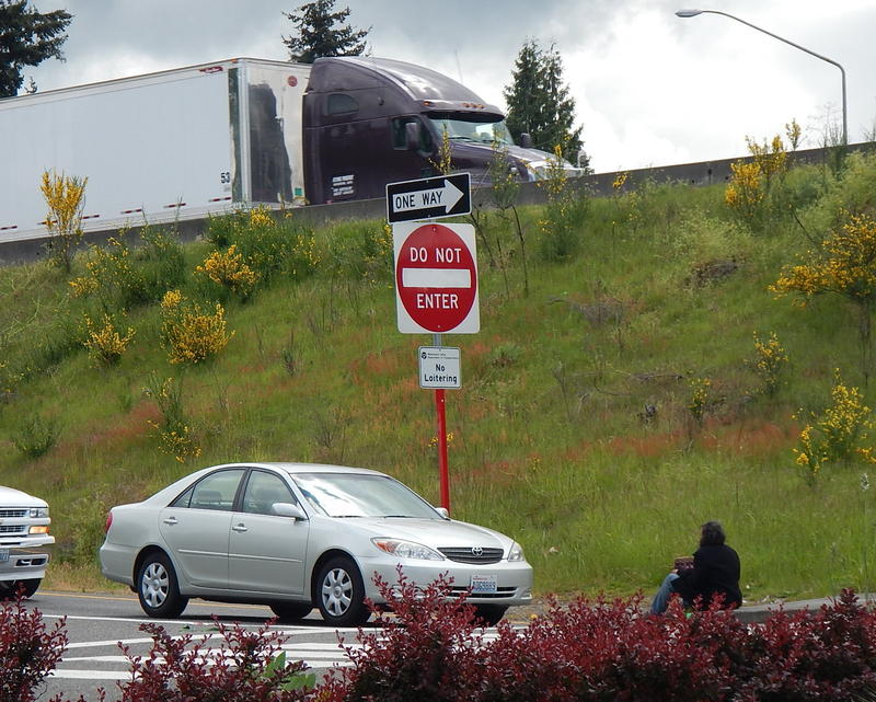 A panhandler in Auburn, Washington.