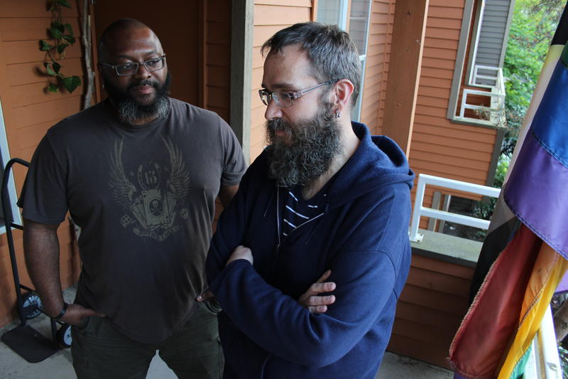 Robert Darden, left, and Anthony Fox moved to Seattle from Nashville. They say they are adamant about living within Seattle city limits, although escalating rents have made that increasingly tough.