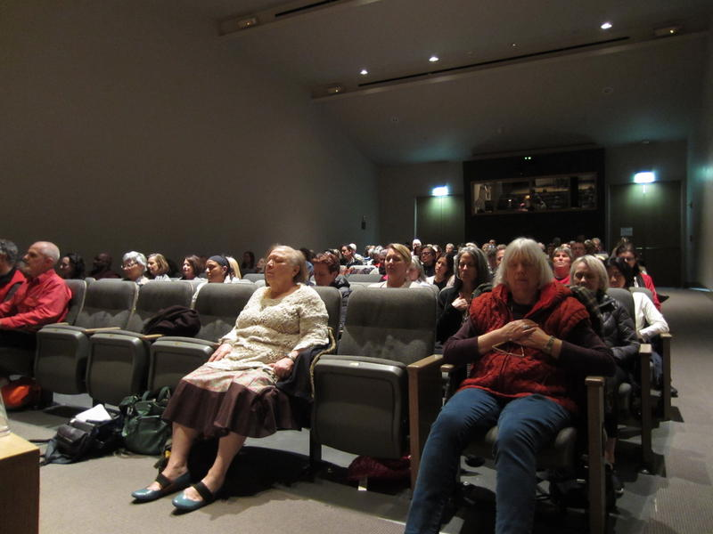 Meditators at Seattle's Frye Art Museum during a recent weekly session.
