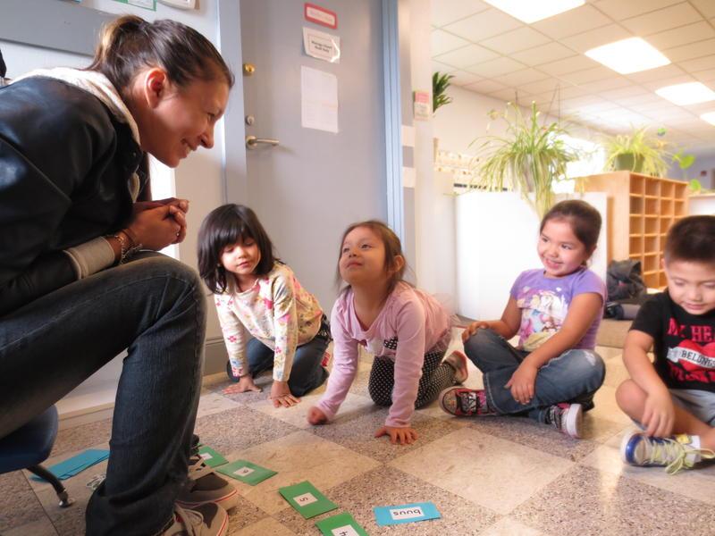 Maria Martin teaches Lushootseed to preschoolers at the Tulalip Montessori School.