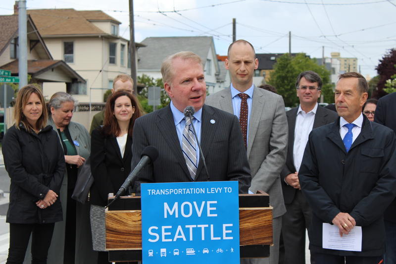 Seattle Mayor Ed Murray announces revisions on a $930 million transportation package the wants to go to voters in November