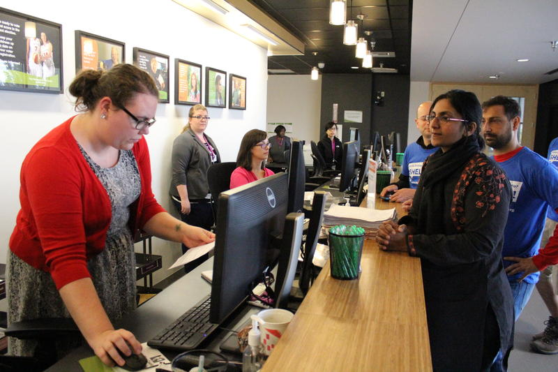 Socialist Kshama Sawant and campaign staff at King County Elections office Monday. She submitted more than 3,000 signatures to qualify for the ballot in her re-election bid for Seattle City Council