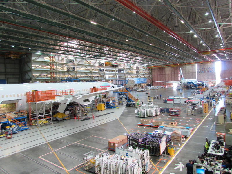 The 787 production line in Everett WA