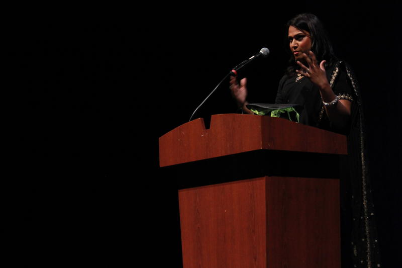 Aneesh Sheth speaks at KUOW's Storywallahs event in early May at the Kirkland Performing Arts Center.