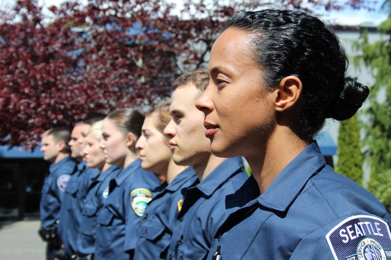 Recruits for the Seattle Police Department, on the first day at the police academy.