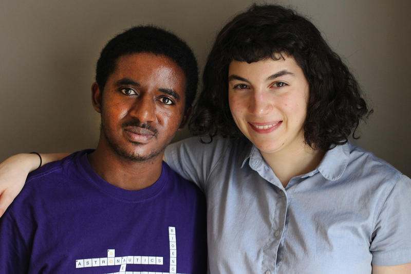 Solomon Muche with mentor Elizabeth Stein, who first saw him as he sat in a homeless shelter studying for the SAT.