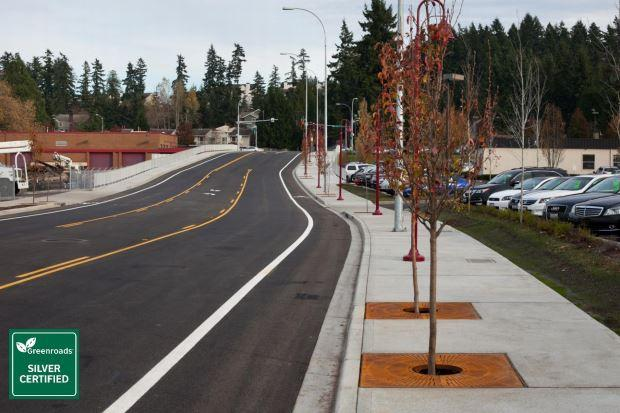 Northeast 120th Street Extension in Kirkland, Washington, received the highest rating from The Greenroads Foundation.