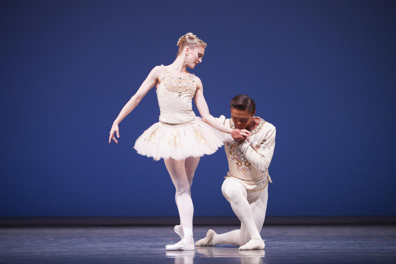 "Pacific Northwest Ballet principal dancers Carla Korbes and Batkhurel Bold in George Balanchine's ""Diamonds."""