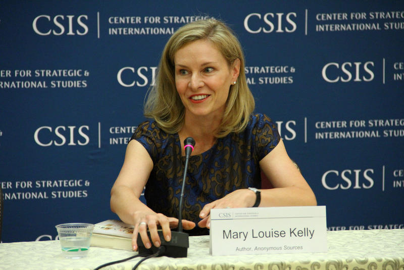 "Mary Louise Kelly at a talk for her book, ""Anonymous Sources,"" in 2013 hosted by the Center for Strategic and International Studies."