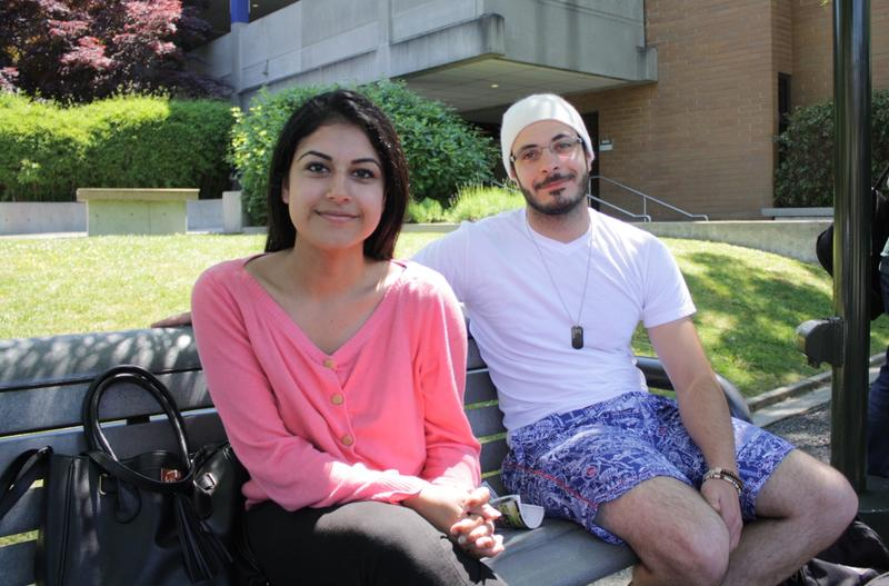 Bellevue College student Ravneet Sandhu (left) lives with her family to save money and commute time. Her friend  Noureddine Kassab is an international student from Lebanon.