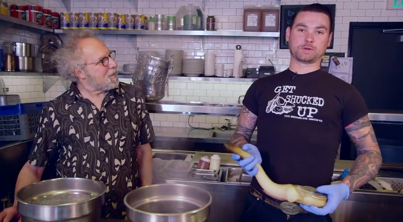 Kevin Bartlett of Taylor Shellfish in Seattle shows David George Gordon, the bug chef, how to cook geoduck.