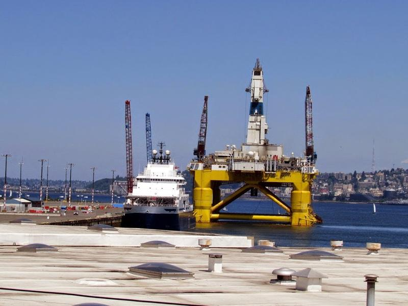 The Polar Pioneer oil rig in Terminal 5 at the Port of Seattle.