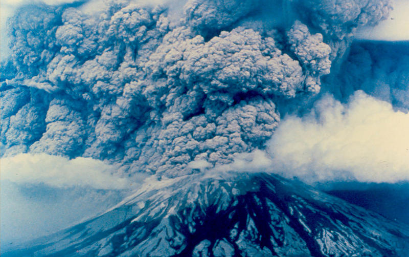 The eruption of Mount St. Helens on May 18, 1980 as seen from the east.
