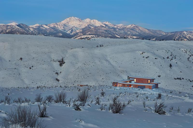 Studhorse. House set in the winter landscape.