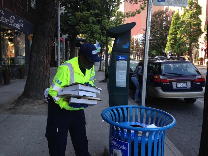"Lee Townsend with the Metroplitan Improvement District checks his ""hotspots"" in Belltown for litter...and worse."