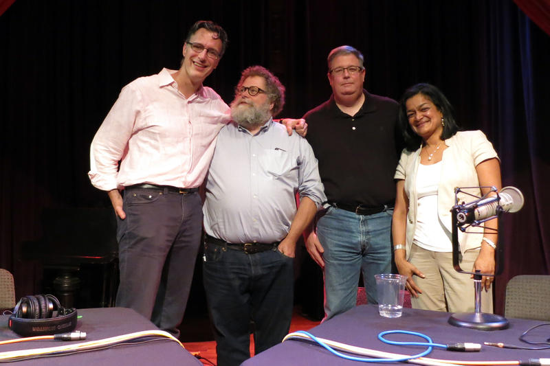 Bill Radke, Knute Berger, Chris Vance and Sen. Pramila Jayapal on stage at the Columbia City Theater on Friday, June 5, 2015.