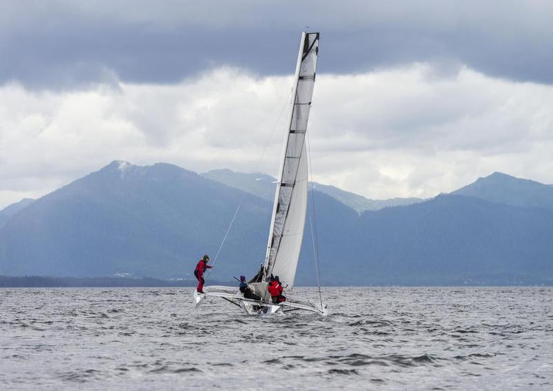 Team Elsie Piddock sails up Nichols Passage south of Ketchikan on the way to winning the Race to Alaska.