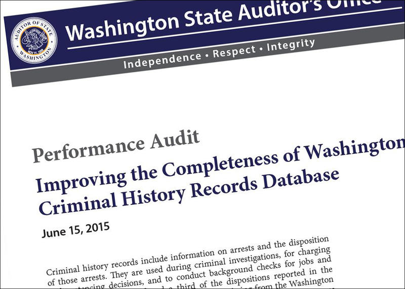 Screenshot of Washington State Auditor's Office report on criminal database records.