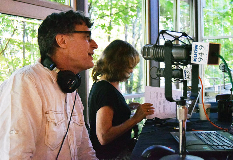Bill Radke and Joni Balter prep for a live broadcast of Week In Review at the Northgate Community Center on Friday, June 26, 2015.