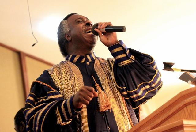 Rev. Carey G. Anderson speaks during the First African Methodist Episcopal Church's 125th year anniversary service Sunday, Nov. 20, 2011 in Seattle.