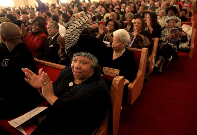 Betty Jackson, left, participates in the 125th year anniversary service at the First African Methodist Episcopal Church Sunday, Nov. 20, 2011 in Seattle.