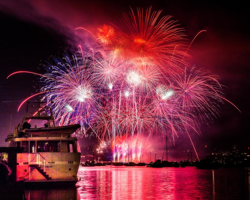 Fireworks over Lake Union on July 4, 2014.