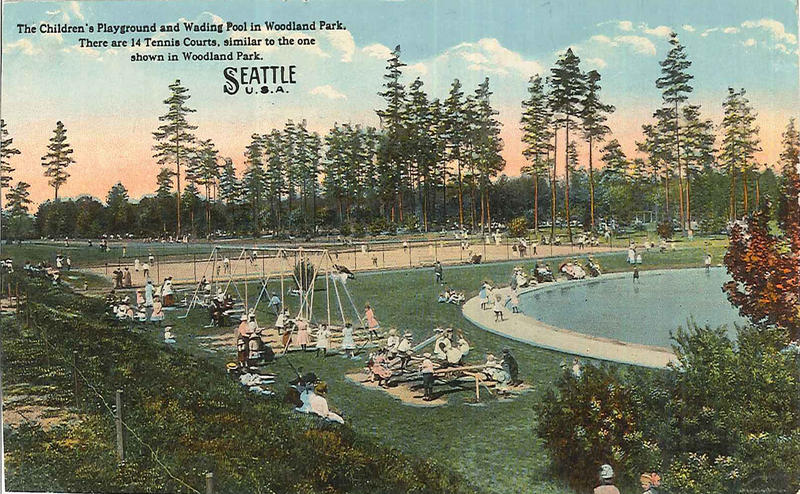 Playground and wading pool at Woodland Park, circa 1915.