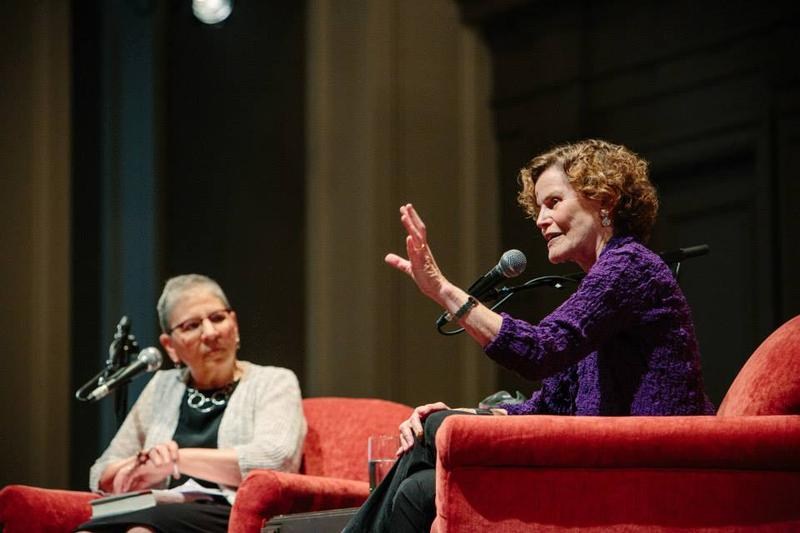Judy Blume (right) speaks with Nancy Pearl at Town Hall Seattle in June 2015.