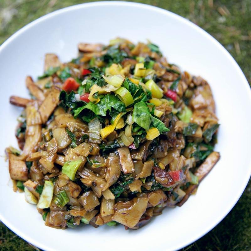 Rainbow chard is the star of this stir fry.