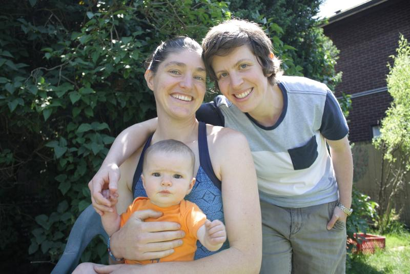 Seattle moms Sarah Weigle and Julia Crouch and their daughter Maya. Although married in Washington state, Crouch chose to adopt their daughter to protect her status as a parent across the U.S.