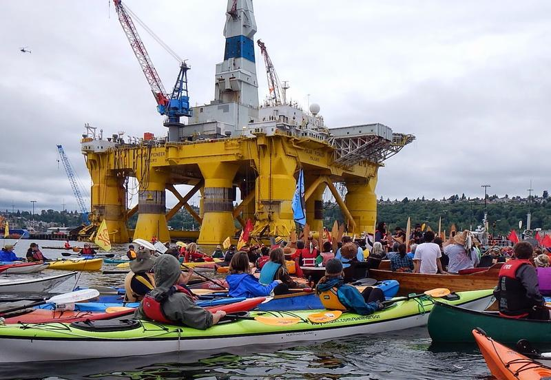 Shell's Polar Pioneer was greeted by dozens of protesting kayakers when it arrived in Seattle this spring.