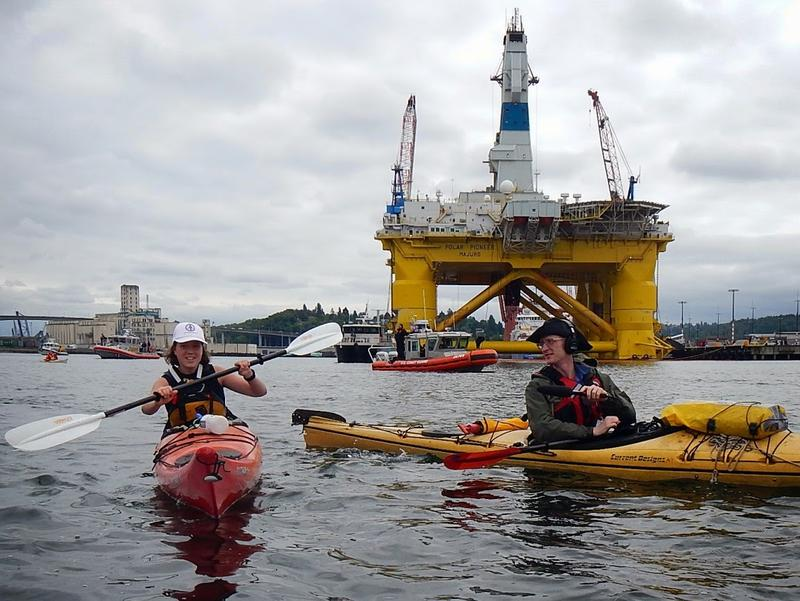 Reporter John Ryan on assignment with the kayaktivists protesting the Shell Oil rig in Seattle.