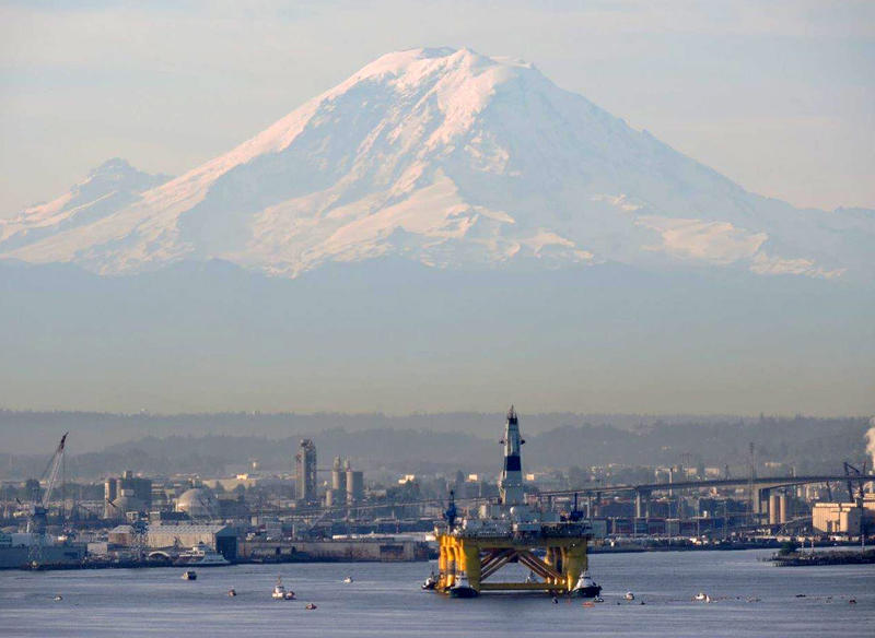 Shell Oil's Polar Pioneer left the Port of Seattle for Alaska on the morning of June 15, 2015.