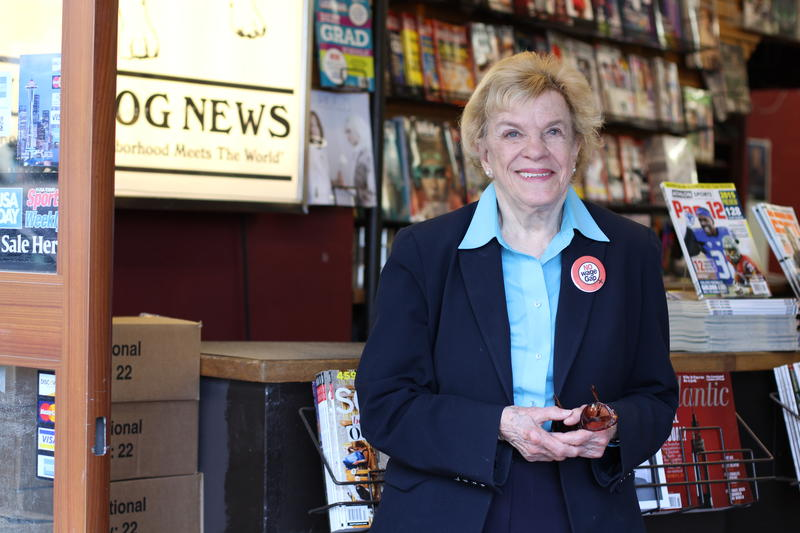 City Councilmember Jean Godden at Bulldog News in the University District.