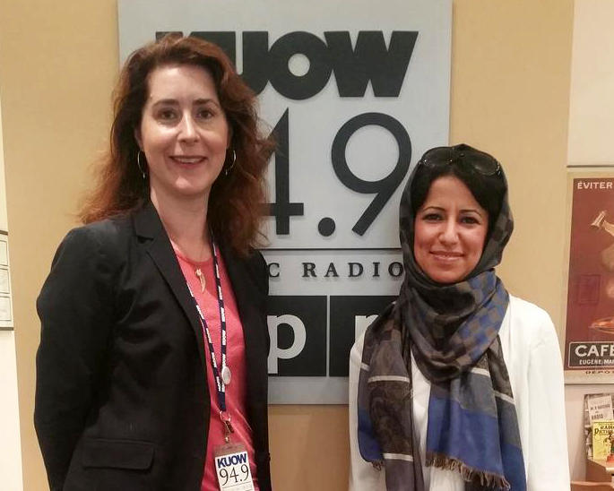 Masar Altaie, right, with KUOW's Kim Malcolm.