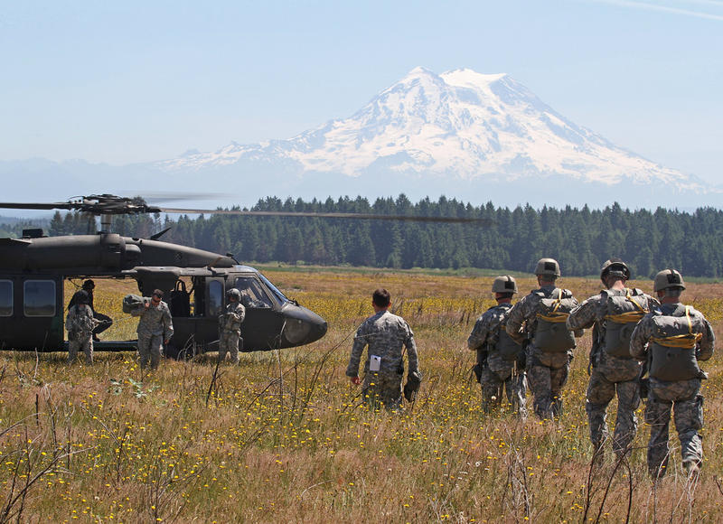 Soldiers prepare for static-line jumps from Blackhawk helicopters at Joint Base Lewis-McChord in this photo dated June 17, 2015.