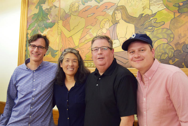 Bill Radke, Deb Wang, Chris Vance and Luke Burbank  at the Leif Erikson Lodge as part of the 'Week in Review' summer tour.
