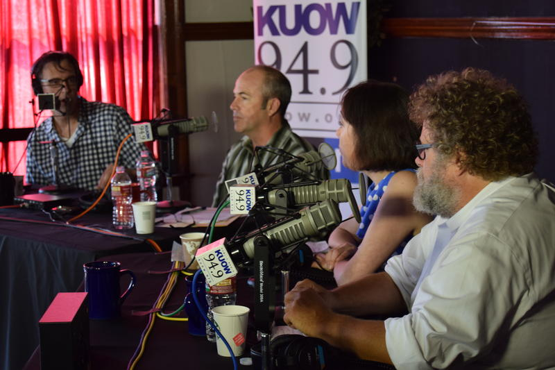 KUOW's Bill Radke discusses the week's news with Bill Finkbeiner, Erica C. Barnett and Knute Berger in front of a live audience at University Heights as part of the of the 'Week in Review' summer tour.