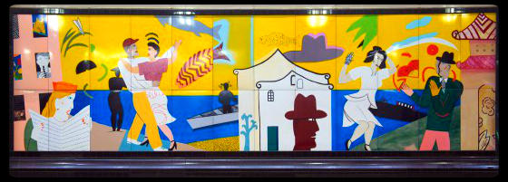 Seattle artist Fay Jones created this mural in the Westlake bus tunnel in the late 1980s.
