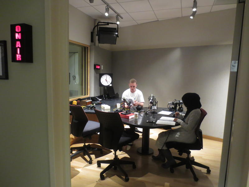 Recording in the KUOW studio on University Way in Seattle.