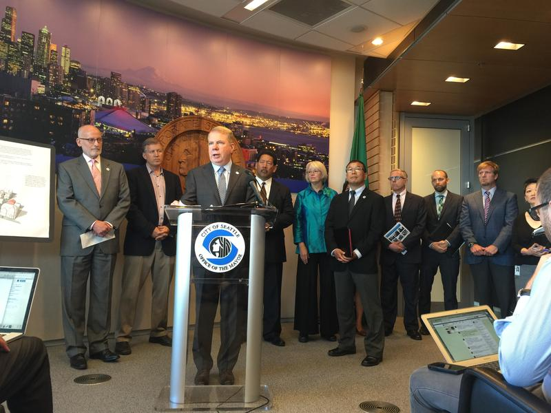 Mayor Ed Murray speaks at an announcement of the city's proposals to build more affordable housing.