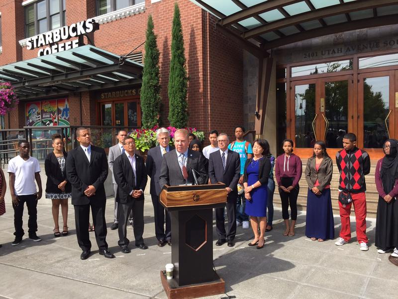 Seattle Mayor Ed Murray announces the growth of his Youth Employment Initiative at the headquarters of Starbucks, which has hired interns this summer.