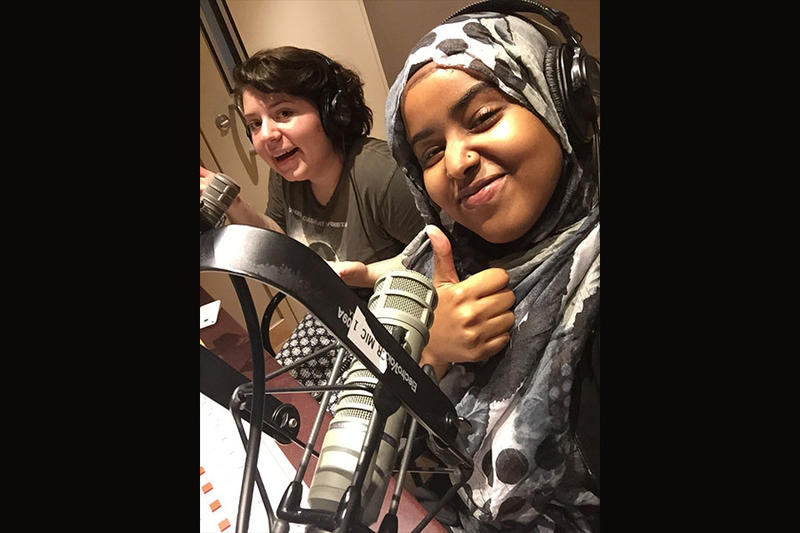 Kendra Hanna and Iman Mohamed record this month's 'RadioActive' podcast.