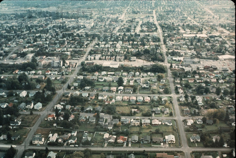 home, house, housing: An aerial shot of the Greenwood neighborhood in Seattle, 1969.